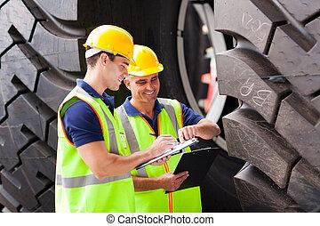 port, pneus, ouvriers, inspection, expédition