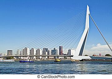 port, pont, pays-bas, rotterdam, erasmus
