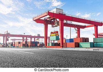 port., pont, récipient, camion transport, autoroute, route
