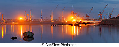 port., port, pétrolier, nuit