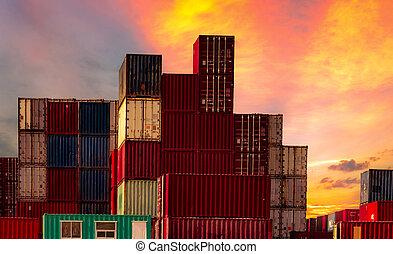 port., récipient cargaison, logistique, station., port, industrie, transport., business., expédition, logistic., exportation, fret, camion, importation, bateau, port