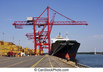 port, récipient, grues, déchargement, a, bateau