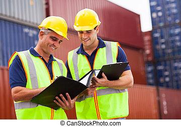 port, récipient, ouvriers, yard