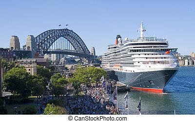port, reine victoria, sydney, bateau croisière