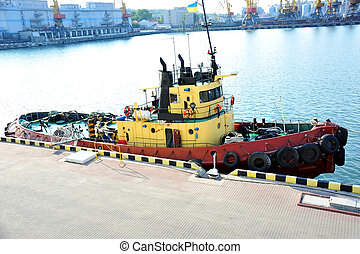 port, remorqueur, quayside