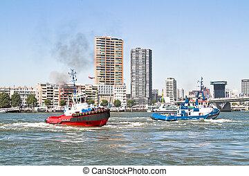 port, remorqueurs, pays-bas, rotterdam