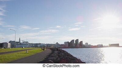port, reykjavik, jour, été, beau, islande, front mer, ...