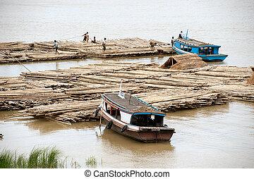 port, rivière, activités, myanmar., ayeyarwady