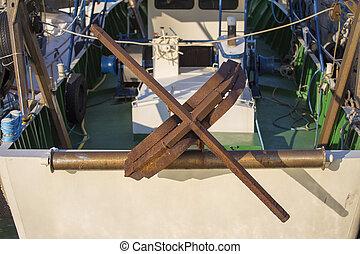 port, -, rouillé, bateaux pêche, ancre