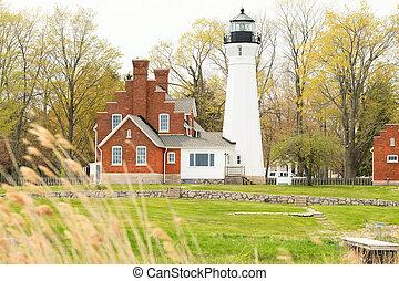 Port Sanilac Lighthouse, built in 1886, Lake Huron,...