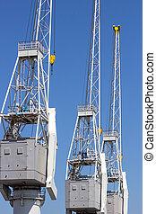 Port shipping cargo cranes
