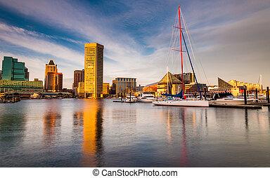 port, soir, lumière, baltimore, intérieur, maryland