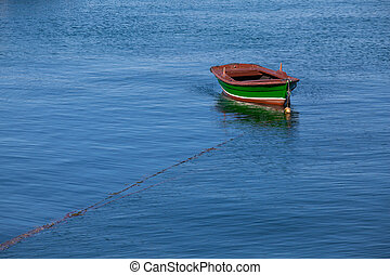 port, solitaire, bateau pêche