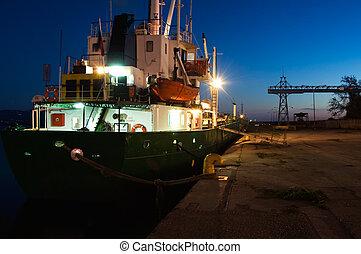 port, statek, zmierzch