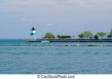 port, sud-est, phare, guidewall, chicago