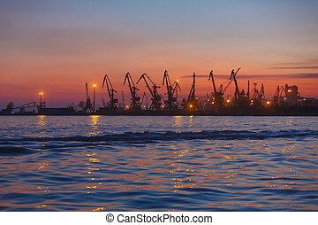 Port termina at sunset