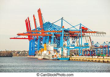 port, terminal, pour, chargement, et, offloading, bateaux
