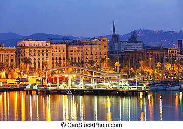 Port Vell and Barcelona cityspace in dawn. Catalonia, Spain