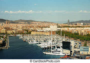 Port Vell and skyline of Barcelona