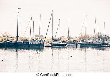 port, village, yachts, voile, hollandais