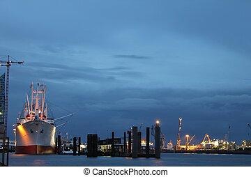 port, ville, hambourg, nuit