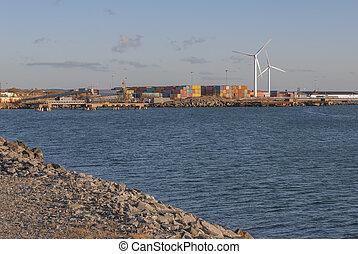 port, ville, récipients