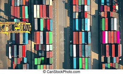 port, vue, grand, terminal, récipient, cargaison, top-down, aérien