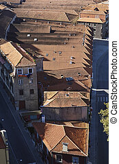 Birds-eye view of port wine warehouse rooftops in Gaia, Portugal