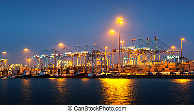 Port with cranes. Algeciras - twilight view of Port with...