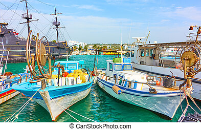 Port with fishing boats in Ayia Napa - Picturesque port with...