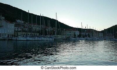 Port with many sailboats