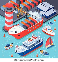 Port With Ships Isometric Composition