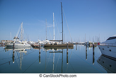 Port with yachts in Rimini, Italy.