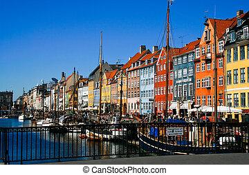 port, zabudowanie, kopenhagen, barwny