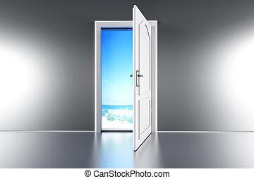 porta, a, il, spiaggia