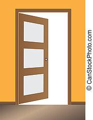 porta, aberta, clássicas, desenho, com, fechadura, vetorial,...