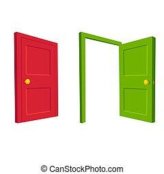 porta aberta, fechado, ilustração