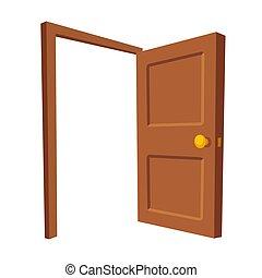 porta aberta, isolado, ilustração