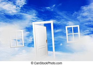 porta aberta, ligado, azul, ensolarado, sky., vida nova,...
