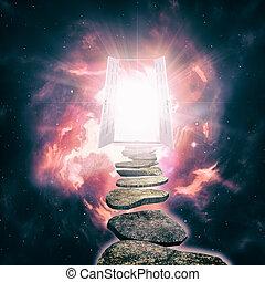 porta aberta, para, outro, realidade, abstratos, etéreo,...