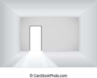porta aberta, sala, em branco