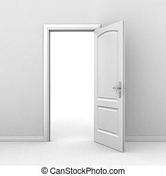 porta aberta, sobre, branca