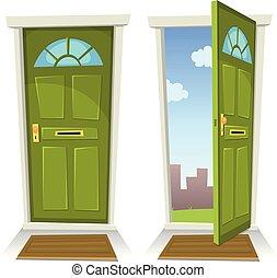 porta aberta, verde, caricatura, fechado