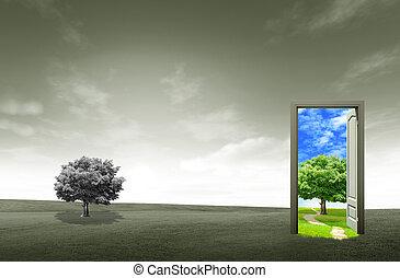 porta aberto, ligado, campo verde, para, ambiental, conceito, e, idéia