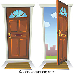 porta, abertos, caricatura, fechado, vermelho