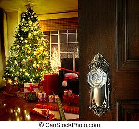 porta, abertura, em, um, natal, sala de estar