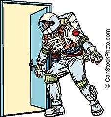 porta, abre, astronauta, desconhecidas