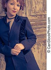 porta, alterato, haired, immagine, contro, colorized, proposta, vendemmia, rosso, donne