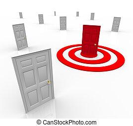 porta, alvo, alvejado, marketing, bulls-eye, um, endereço