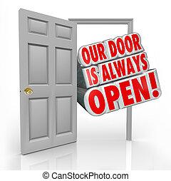 porta, always, dentro, benvenuto, invito, nostro, aperto